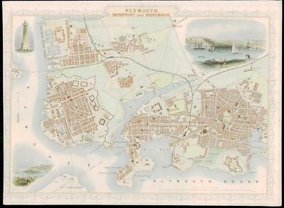 1851 ORIGINAL ANTIQUE City Map of PLYMOUTH DEVONPORT & STONEHOUSE  by Tallis