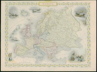 "1850 - Original Antique Map of ""EUROPE"" inc Russia by TALLIS - FULL COLOUR (20)"