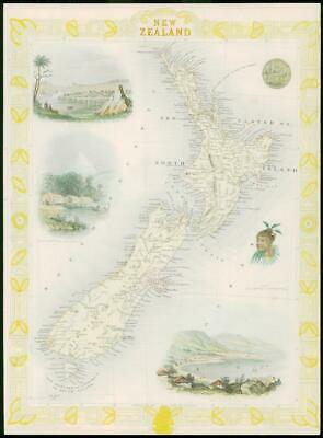 "1850 Rare Original Antique Map of ""NEW ZEALAND"" by TALLIS - FULL COLOUR (6)"