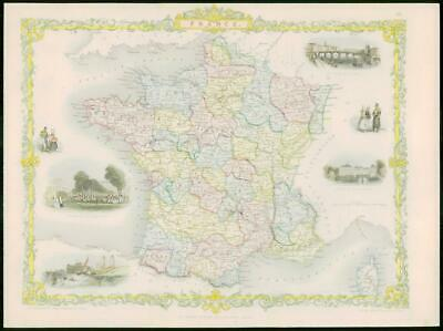 "1850 - Original Antique Map of ""FRANCE"" by TALLIS - FULL COLOUR (13)"