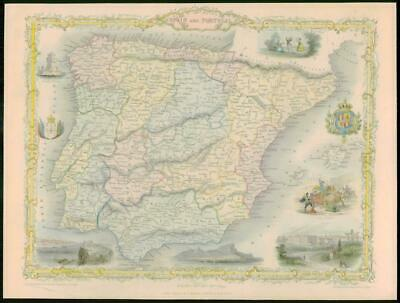 "1850 - Original Antique Map ""SPAIN AND PORTUGAL"" Gibraltar TALLIS COLOUR (54)"