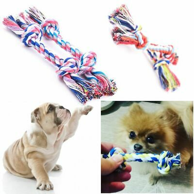Play Catch Cotton Rope Pet Chew Knot Toys Teeth Training Braided Bone Shape