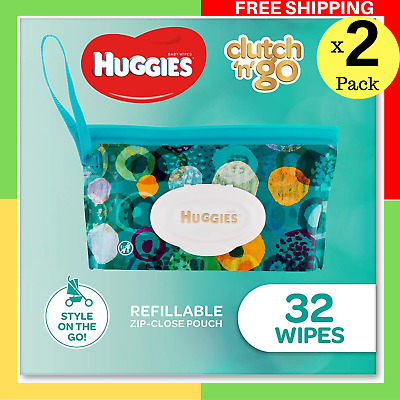 HUGGIES Baby Wipes Refillable Clutch `N' Go, 32 Wipes On The Go Soap MI Free x 2