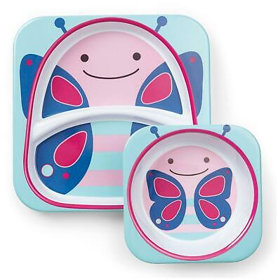 Skip Hop ZOO TABLEWARE SET - BUTTERFLY Toddler Feeding Plate Bowl - NEW