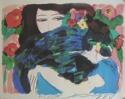 Woman with green cat, Limited Edition Lithograph, Walasse Ting 1987 hand signed