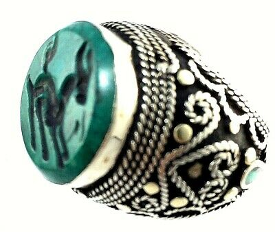 ring silver rare antique green turquoise  intaglio ancient roman deer N 7