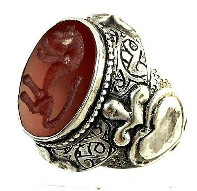 ring silver rare antique carnelian agate intaglio ancient roman horse seal no R7