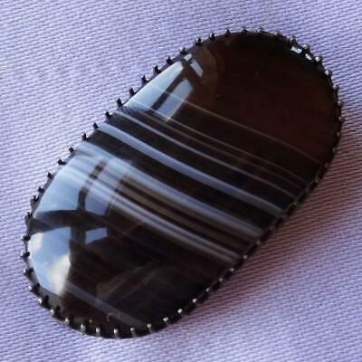 Antique VICTORIAN Oval Scottish Banded AGATE Brooch