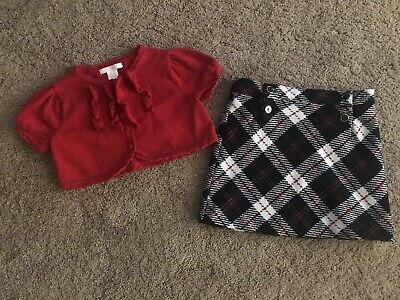 EUC Janie & Jack Red Bolero Ruffle Sweater Black White Red Plaid Skirt 5-6 Girls