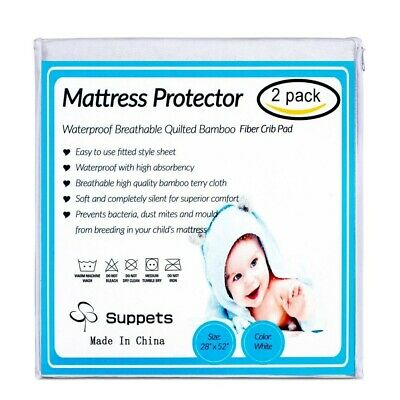 "Crib Mattress Pad Waterproof Breathable Baby Toddler Bed Protector Cover 52""x28"""