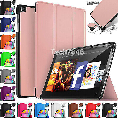 Leather Smart Stand Case Cover For Amazon Kindle Fire HD 10 8 7 (2017 2018 2019)