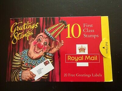 Gb 10 First Class Greetings Stamps and 20 Greetings Labels.