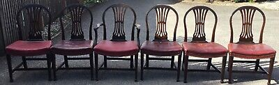 Antique set of 6 Victorian C1870?  leather dining chairs