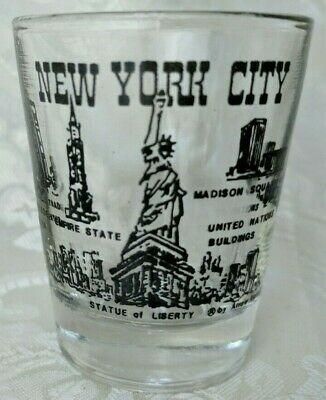 Vintage Souvenir Shot Glass New York City Scenes Twin Towers Statue of Liberty *