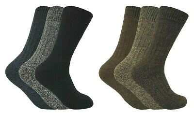 6 Pack Mens Chunky Thick Cushioned Breathable Warm Wool Blend Hiking Boot Socks