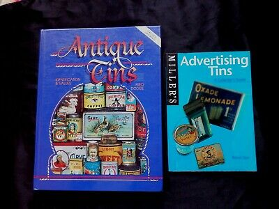 2 Books COLLECTING ANTIQUE ADVERTISING TINS Robert Opie & Fred Dodge ID & Values