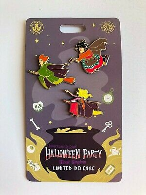2019 MICKEY'S NOT SO SCARY HALLOWEEN PARTY Hocus Pocus Sanderson Sisters Pin Set