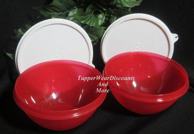 Tupperware New Rare Set 2 Small 3 Cup Wonderlier Bowls Bright Red w White Seals