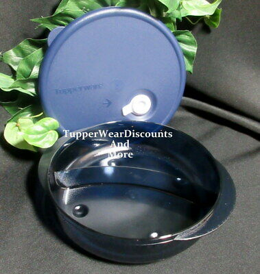 Tupperware New~ Vent N Serve Microwave Round Divided Dish Indigo Blue