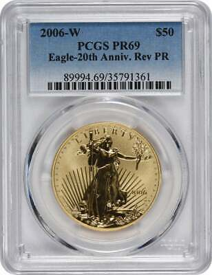 2006-W $50 American Gold Eagle 20th Anniversary Reverse Proof PR69 PCGS