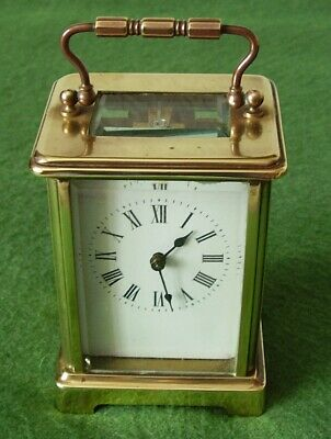 ANTIQUE BRASS CARRIAGE CLOCK CHARMING PROPORTIONS WORKING ORDER EDWARDIAN c 1900