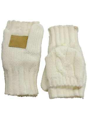 Isotoner Womens Ivory Cable Knit Sherpa Soft Fingerless Convertible Gloves