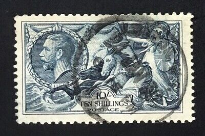 GB George V 1934 10/- Indigo Re-engraved Seahorse Used SG 452. (cat £80)