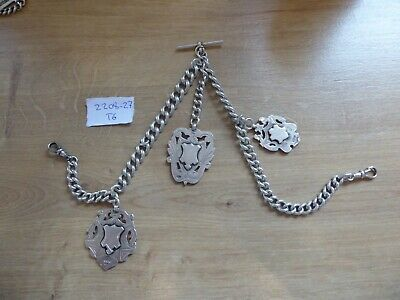 Superb Antique Chunky Sterling Silver Double  Albert Pocket Watch Chain & Fobs