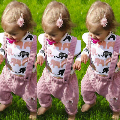 2pc Toddler Baby Girls Elephant Print Tops+Bowknot Braces Overall Pants Outfits