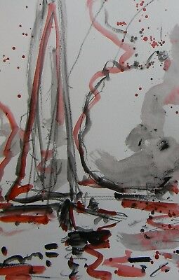 JOSE TRUJILLO Abstract ACRYLIC PAINTING EXPRESSIONISM SAILBOAT CLOUDS