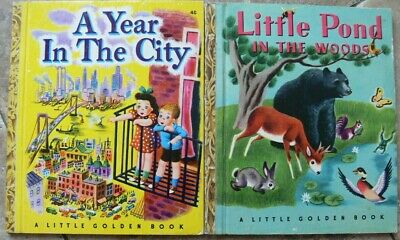 2 Vintage Little Golden Books ~ LITTLE POND IN THE WOODS, A YEAR IN THE CITY