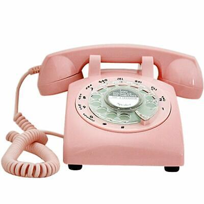 Retro Pink Phone Rotary Dial Vintage Telephone Corded Classic Landline Gifts
