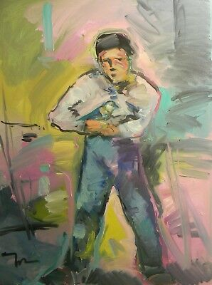 JOSE TRUJILLO Large OIL PAINTING 30X40 YOUNG LITTLE BOY WITH BIRD FINCH FIGURE