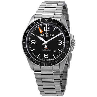 Bell and Ross Vintage Black Dial Automatic Men's GMT Watch BRV293-BL-ST/SST