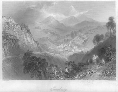 1840 IRELAND - ORIGINAL ANTIQUE PRINT View of ENNISKERRY County Wicklow (290)