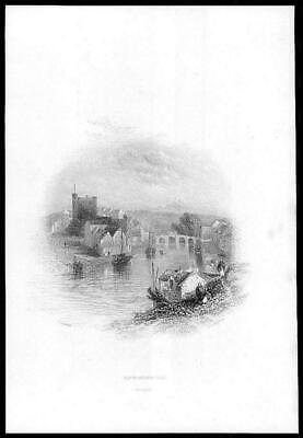 1840 IRELAND - ORIGINAL ANTIQUE PRINT View of ENNISCORTHY WEXFORD (88)