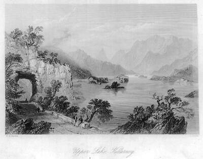 1840 IRELAND - ORIGINAL ANTIQUE PRINT View of UPPER LAKE Killarney (219)