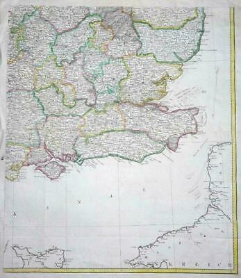 c1780s - Huge Antique Map SOUTH EAST COAST England Kent Sussex Essex etc (LM4)