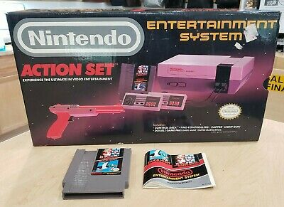 Nintendo NES Action Set Console Complete w/ Original Box & Game Free Shipping