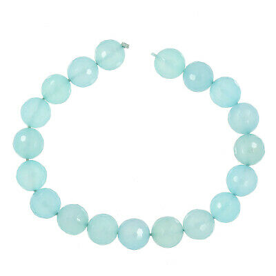 """19PC Sea Blue Chalcedony Faceted Round Beads 10mm 7.5"""" Grade AA #59084"""