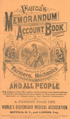 1882 Pierce's Memorandum Account Book Advertising Quack Medicine Farmers 50p