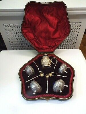 Old Victorian Eastern Indian Kutch Style Silver Master Salt Serving Set W/Case