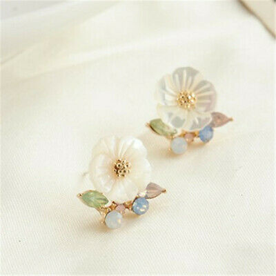 10mm Natural White Shell Flower Earrings Ear Drop Dangle Wedding Real Hook
