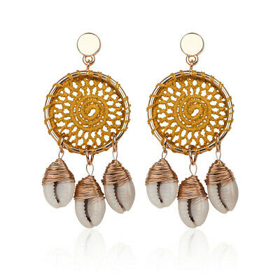 1PCS Natural Shell Earrings Copper Ear Drop Dangle Bohemia Irregular Women