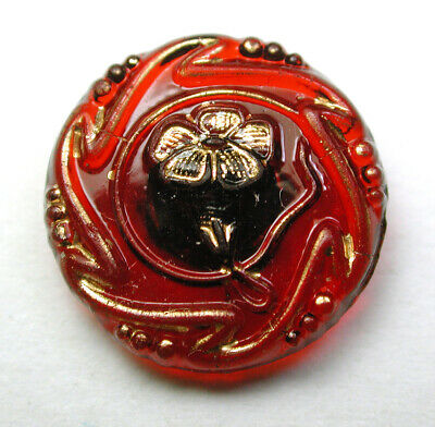 Antique Victorian Ruby Glass Button Art Nouveau Flower w/ Gold Luster - 1/2""
