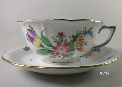 """Herend Printemps(Bt) Cup And Saucer Set 734-04 Floral 2"""" Footed - Excellent!!"""