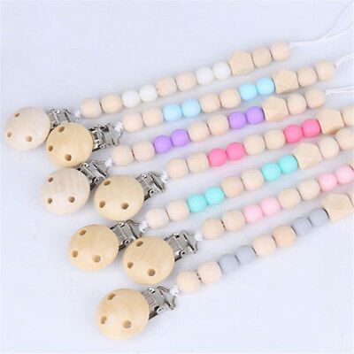 Wooden Baby Pacifier Clip Chain Soother Pacifier Clips Leash Strap Nipple Holder