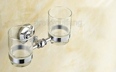 Polished Chrome Brass Wall Mounted Bathroom Toothbrush Holder Double Cup Pba807