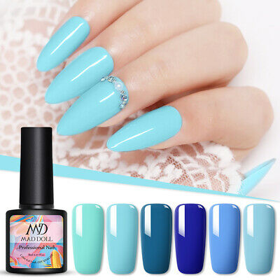 MAD DOLL 8ml Blue Series UV Gel Soak Off Nail Gel Polish Varnish Sky Blue