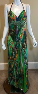 SUE WONG Nocturne Silk Multi-Color Floral Print Beaded Long Maxi Dress 8 - NWT